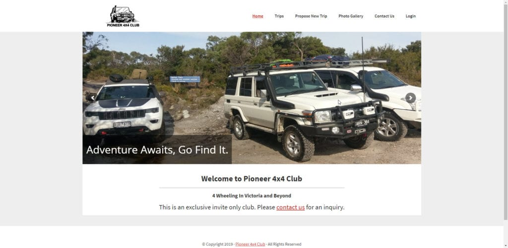 Pioneer 4x4 Club - Desktop - Screenshot - Web design and development - Membership Website