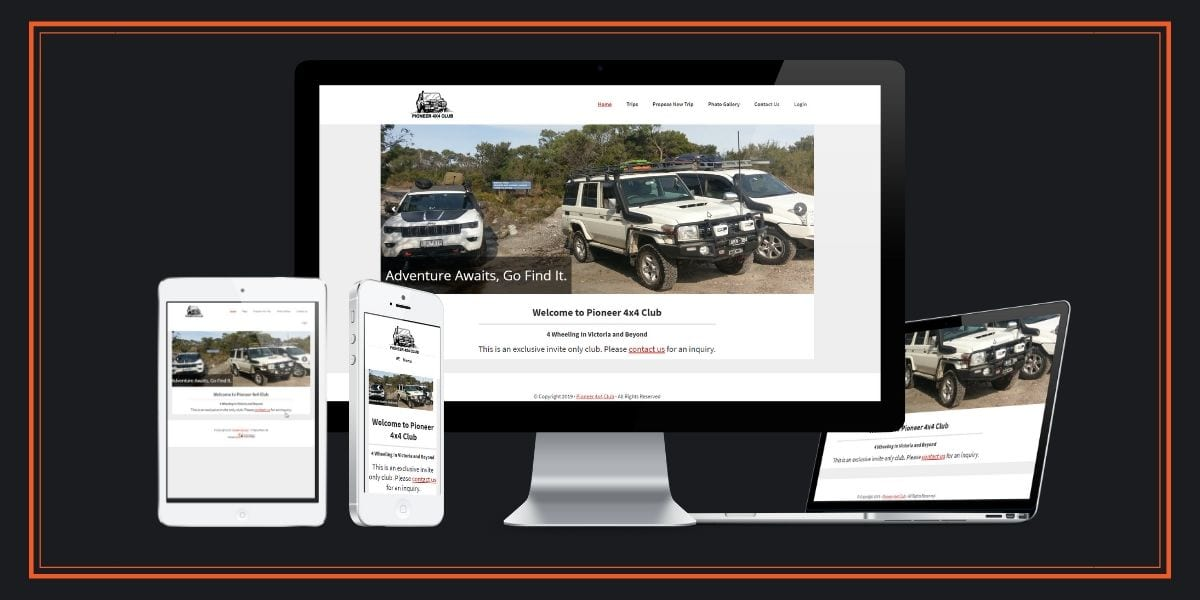 Pioneer 4x4 Club Mobile Responsive Website - Web Design - Web Development